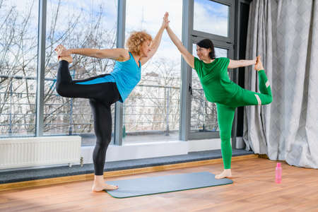 Two mature female friends exercise yoga together 스톡 콘텐츠
