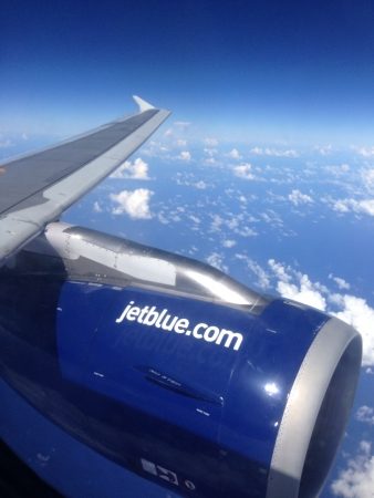jetblue: JetBlue airline, branding on turbine, on air