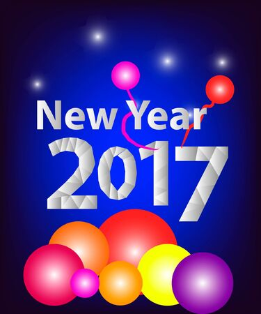 Vector New Year 2017 card with colored balls