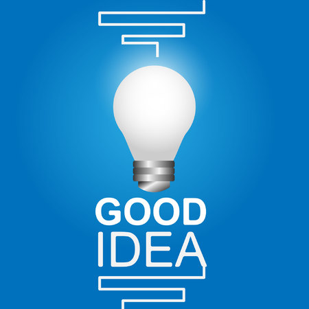 Creative concept on the topic of intelligence with a lamp vector blue background