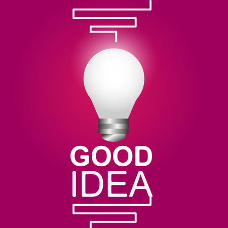 Creative concept on the topic of intelligence with a lamp vector pink background Stock Vector - 111912878