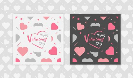 Happy Valentines Day set of banners. White and black color.