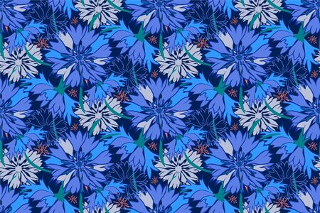 Cornflower. Flowers seamless pattern. Vector illustration.