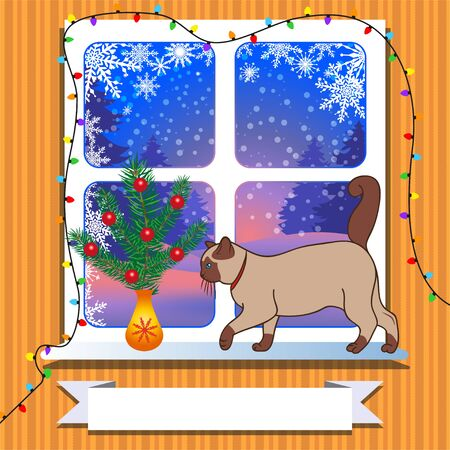 Window with cozy cat and small christmas tree, winter forest outside view. Frame for felicitation below. Suitable for Christmas and New Year card. Vector illustration. Vector Illustration