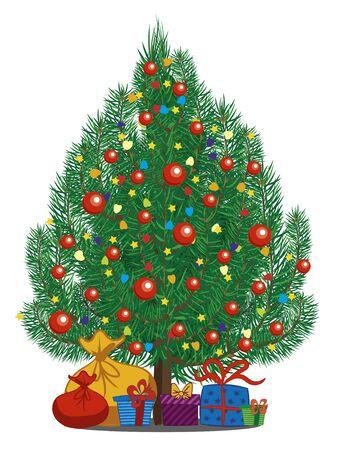 Udekorowana choinka z prezentami na białym tle. Nadaje się na kartkę świąteczną i noworoczną. Ilustracja wektorowa.