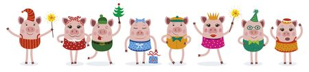 Pigs. Christmas and Happy new year card. For posters, banners, postcards, sales and other winter events. Vector illustration. Archivio Fotografico - 134374724