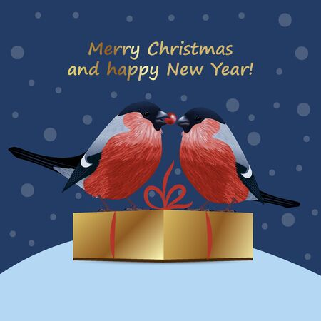 Christmas Bullfinch. Winter holiday background. Great for Christmas and New Year cards, banners and posters. Vector illustration. Illustration