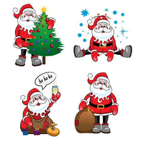 Santa Claus set, four different ones. Suitable for Christmas and New Year card. Vector illustration. Illustration