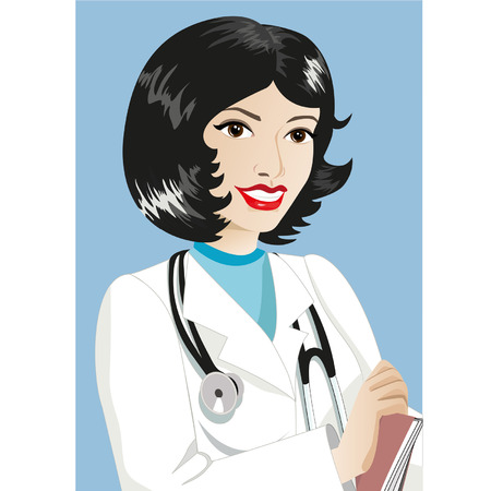 медик: Woman therapist with a stethoscope smiling. Vector illustration.