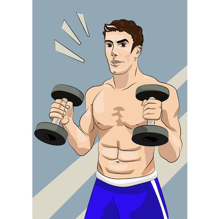 Bel giovane uomo con corpo atletico, detiene un manubrio.