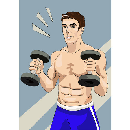 Handsome young man with athletic body, holding a dumbbell.