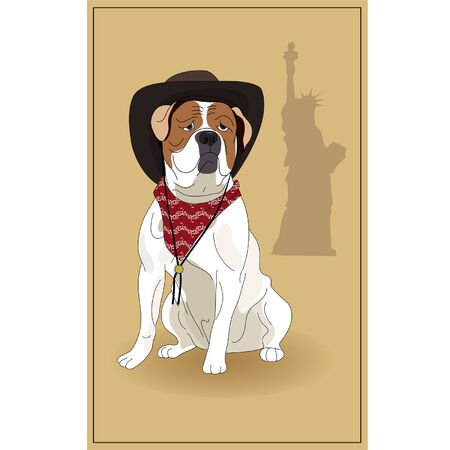 dog costume: American Bulldog and the symbol of America. illustration.
