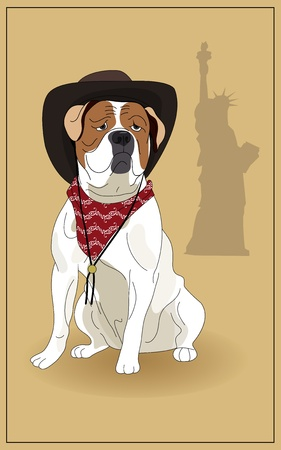 American Bulldog and the symbol of America.  Vector