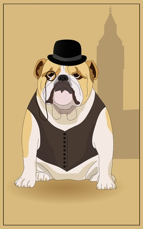 bowler hat: English bulldog and  symbol of England.