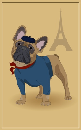 French Bulldog, and symbols of France. Stock Vector - 10060692