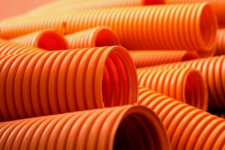 orange plastic pipe background