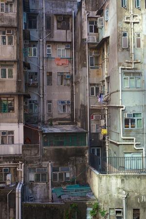 krottenwijk: Slum oude gebouwen in Hong Kong