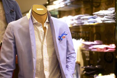 trendy shop with fashionable mens suit on mannequin Banco de Imagens - 30682941