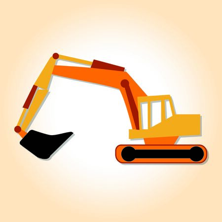excavating machine: Big yellow industrial coloader for construction company logo Illustration