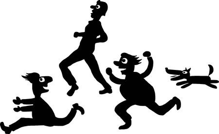 wścieklizna: Ludzie uciekają od psów plik wektorowy Ilustracja