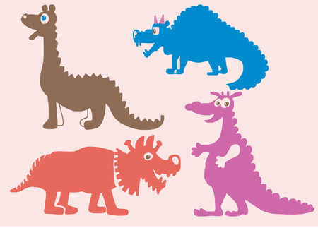 siluette: Colored silhouettes of any kind dinosaurs vector file
