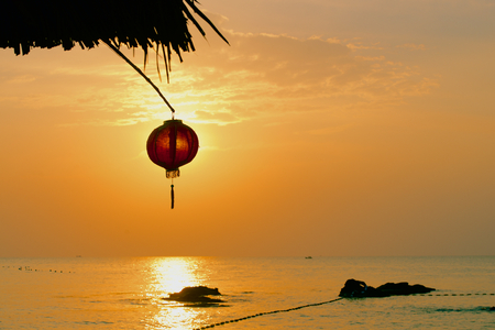 beach front: Chinese lantern on the beach front Asian tropic sea view Stock Photo