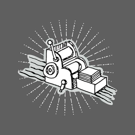 druckerei: Druckerei Desktop-Druck Offsetmaschine Retro Typografie Ausr�stung