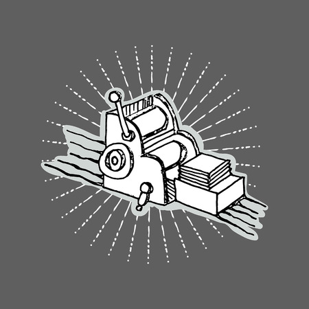 object print: Print shop desktop printing offset machine retro typography equipment