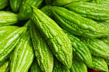 Bitter melon Momordica charantia on Asian market  Banco de Imagens