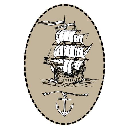 Old sailing ship.