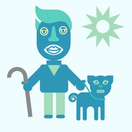 Man and dog. flat icon illustration magazine article