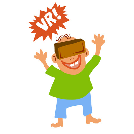 funny glasses: Comic funny style boy with VRreality glasses