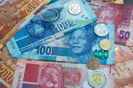 rand: South African Rand currency and coins background