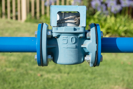 outdoor photo: Blue natural gas pipeline in city outdoor photo