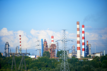 energy work: Factory pipes and smoke, industrial landscape photo