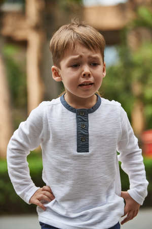 Little boy crying emotion outdoor close up photo Stock Photo
