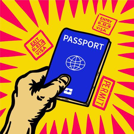 Hand holding passport with entry stamp around. Old type pop design picture. Standard-Bild - 97898201