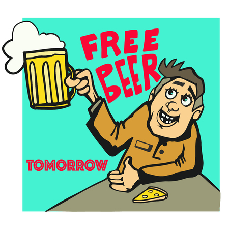 Free beer tomorrow poster man with beer mug in old style Standard-Bild - 97775725