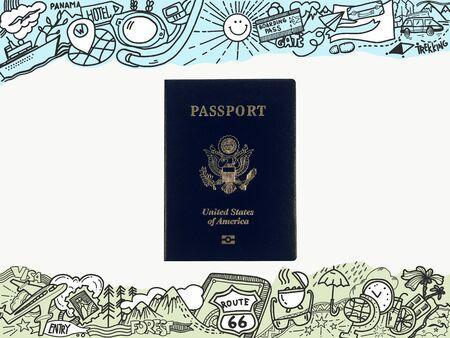 Passport in the frame.  Tourist theme doodle hand drawing around. Standard-Bild - 99624626