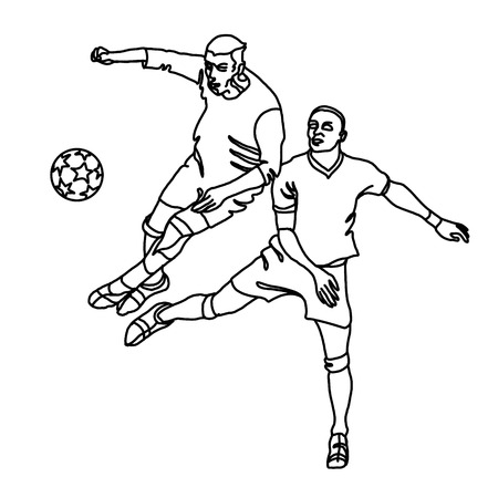 Two footballers are fighting for the ball. One player makes a tackle, the second jumps.
