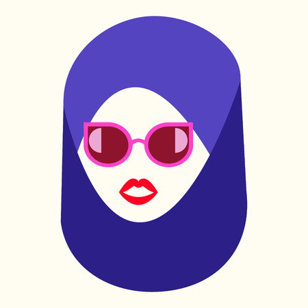 Asian woman face fashion logo and icon concept