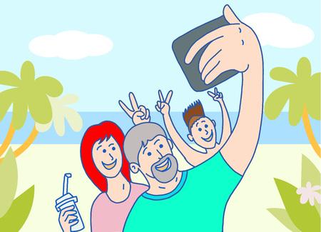 Happy family makes selfie on beach side vacation time Ilustração