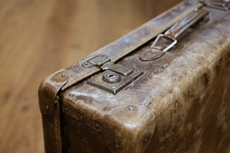 old suitcase vintage with blurry background