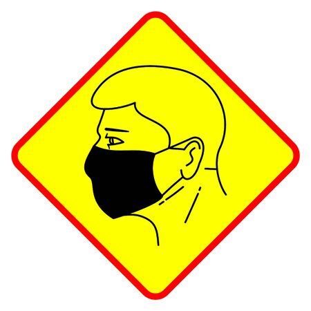 Sign badge warning to use a medical face mask