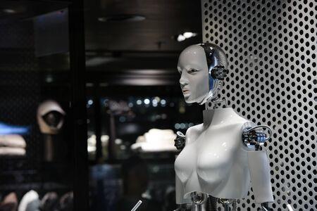 A person robot artificial intelligence in a trade center Banco de Imagens - 143585365