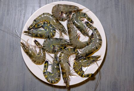 A selection of fresh shrimp on the plate for cooking