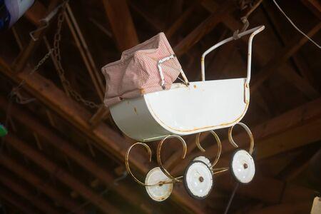 Retro style baby pram carriage
