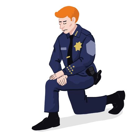 Police officer kneels down Illustration