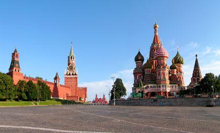 kremlin: Moskou. Het rode gebied. Gezegend Vasili's tempel. Het Kremlin. Stockfoto
