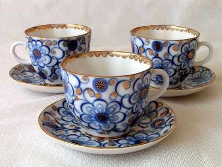 Tea cups. Three tea cups on saucers Stock Photo - 541969